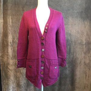 Pure Anthropologie Hand Knit Cardigan Buttons M L
